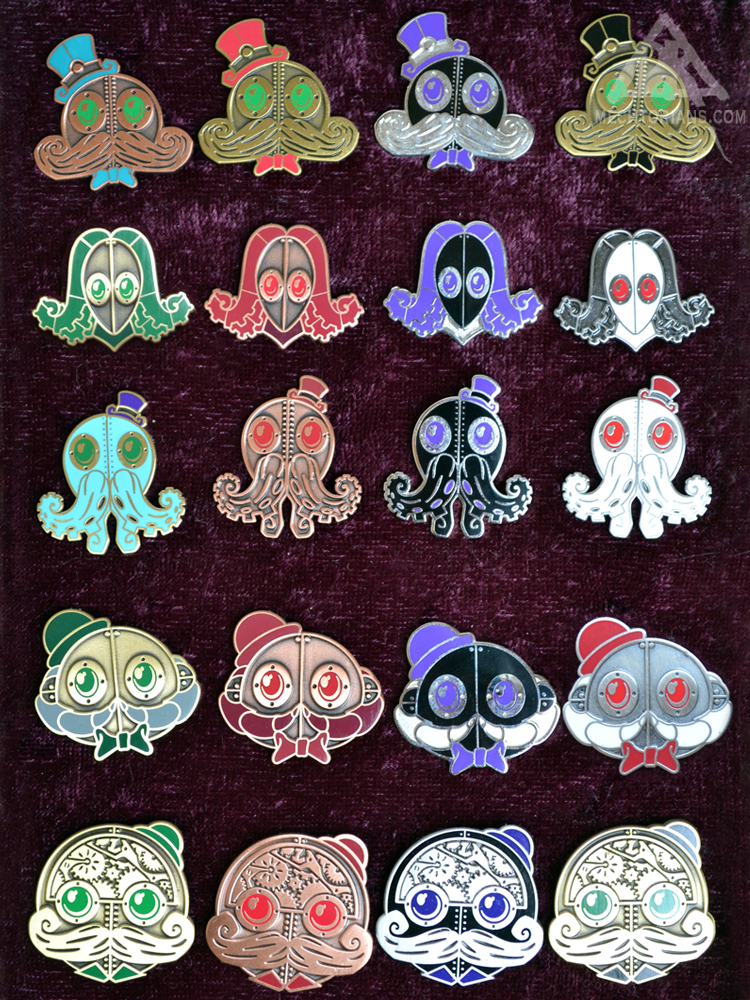 Mechtorian Enamelled pin badges by Doktor A.