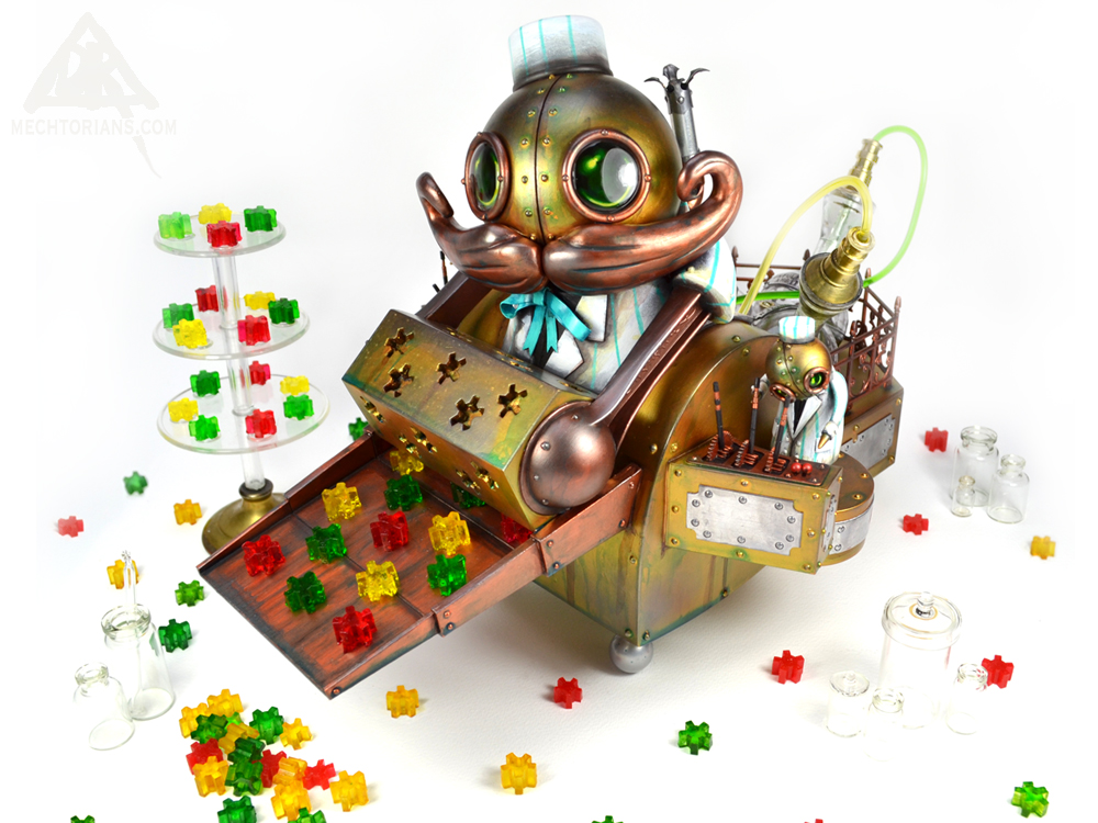 Joshua Hipplethwaite Candy Factory Candy Maker Mechtorian sculpture by Doktor A.