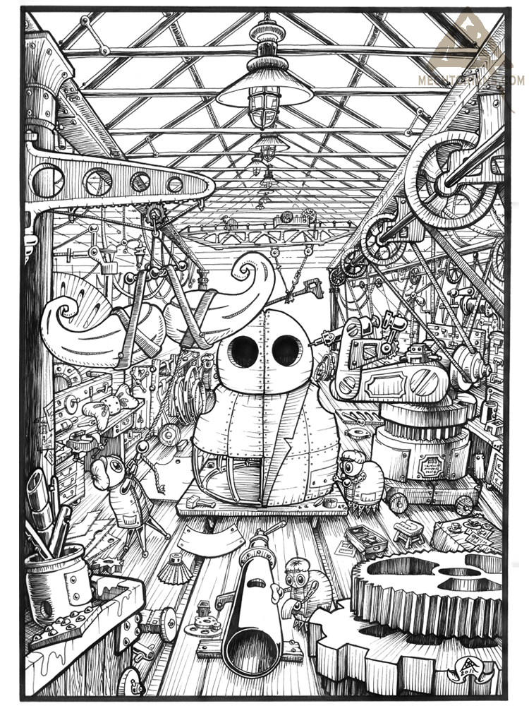 Mill Mechtorian factory floor ink drawing by Doktor A.
