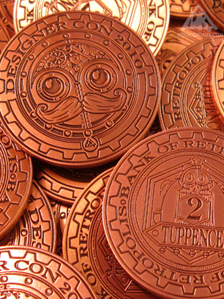 Tuppence Mechtorian bank of Retropolis coin by Doktor A and Designer Con
